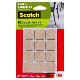 Feltro Sintético para Móveis Leves 3M Scotch Quadrado Marrom Médio - 12 unidades